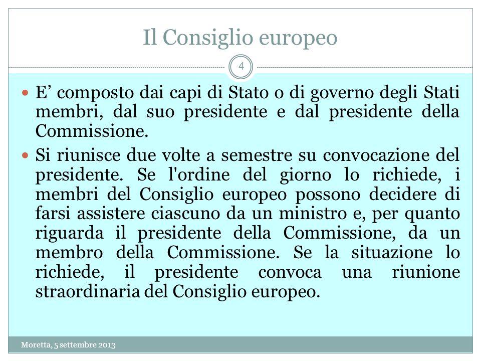 Il Consiglio europeo E' composto dai capi di Stato o di governo degli Stati membri, dal suo presidente e dal presidente della Commissione.
