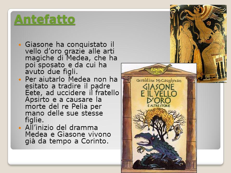 Antefatto Giasone ha conquistato il vello d'oro grazie alle arti magiche di Medea, che ha poi sposato e da cui ha avuto due figli.