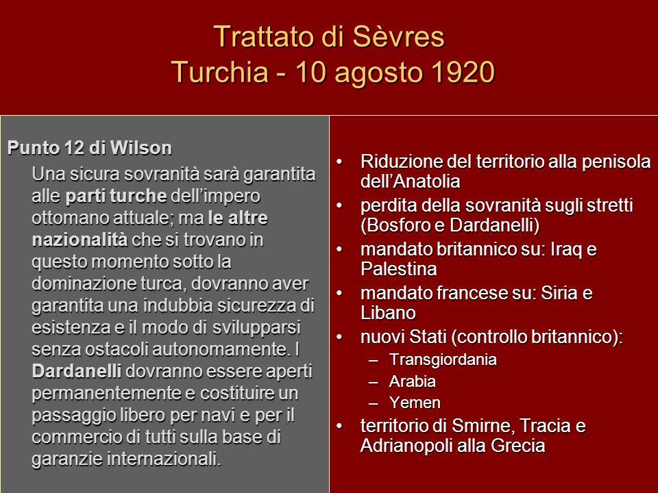 Trattato di Sèvres Turchia - 10 agosto 1920