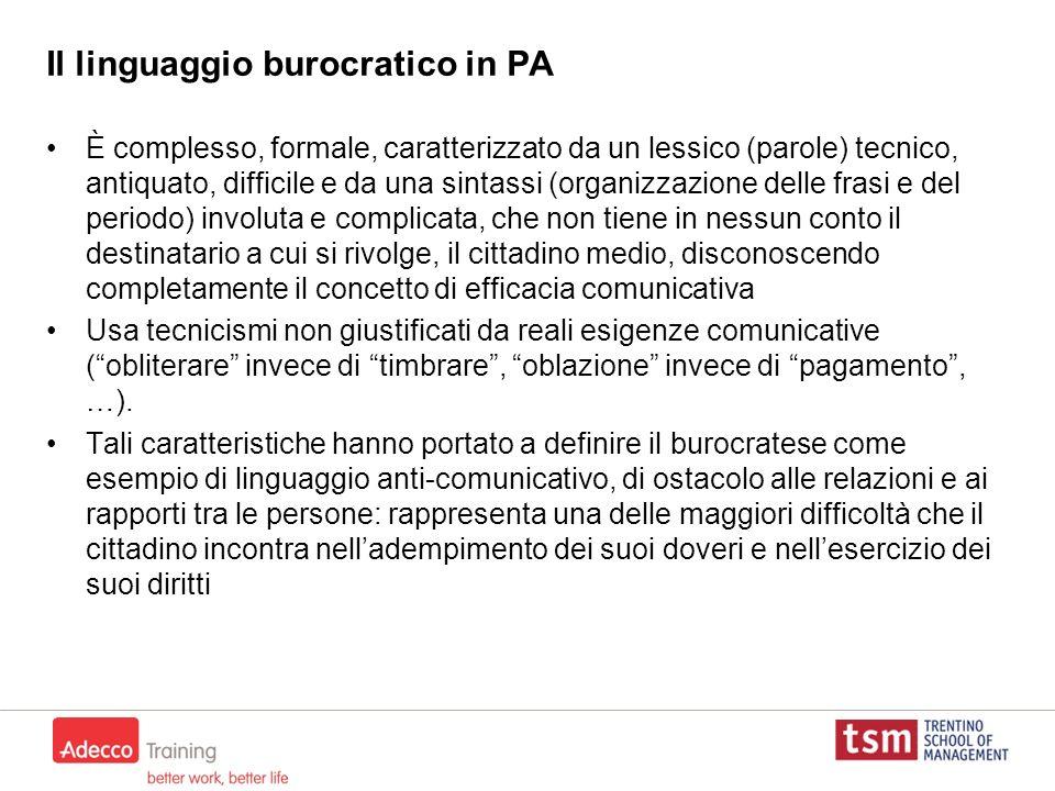 Il linguaggio burocratico in PA