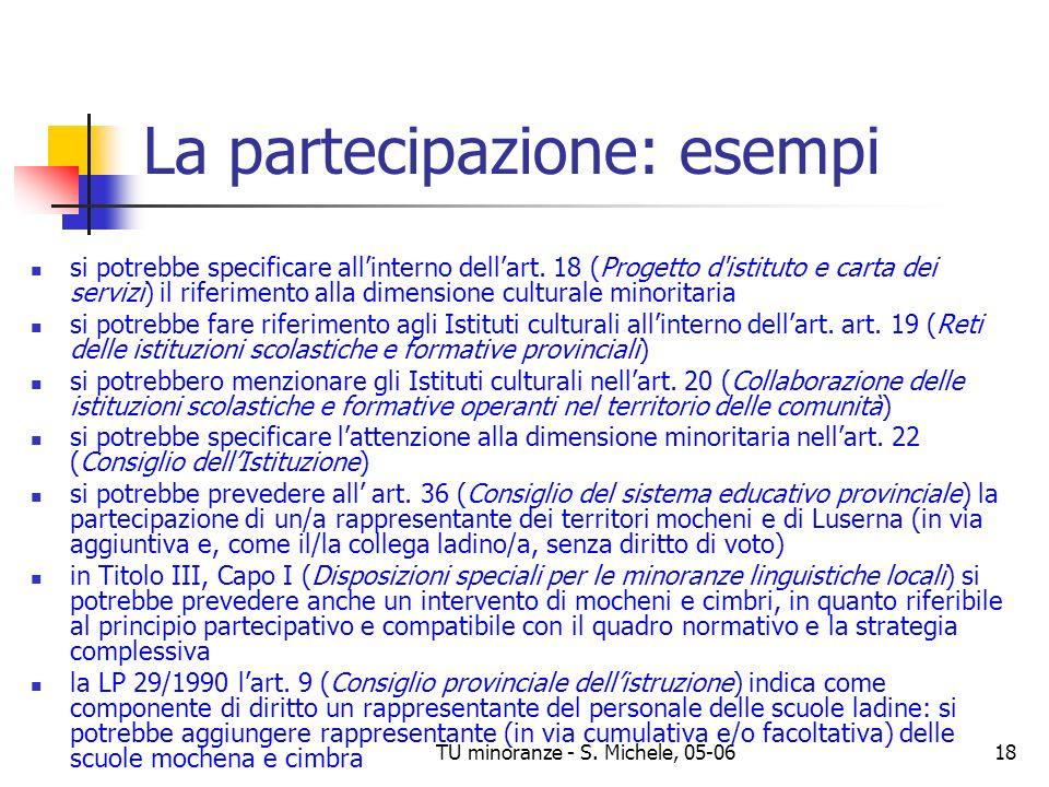 La partecipazione: esempi