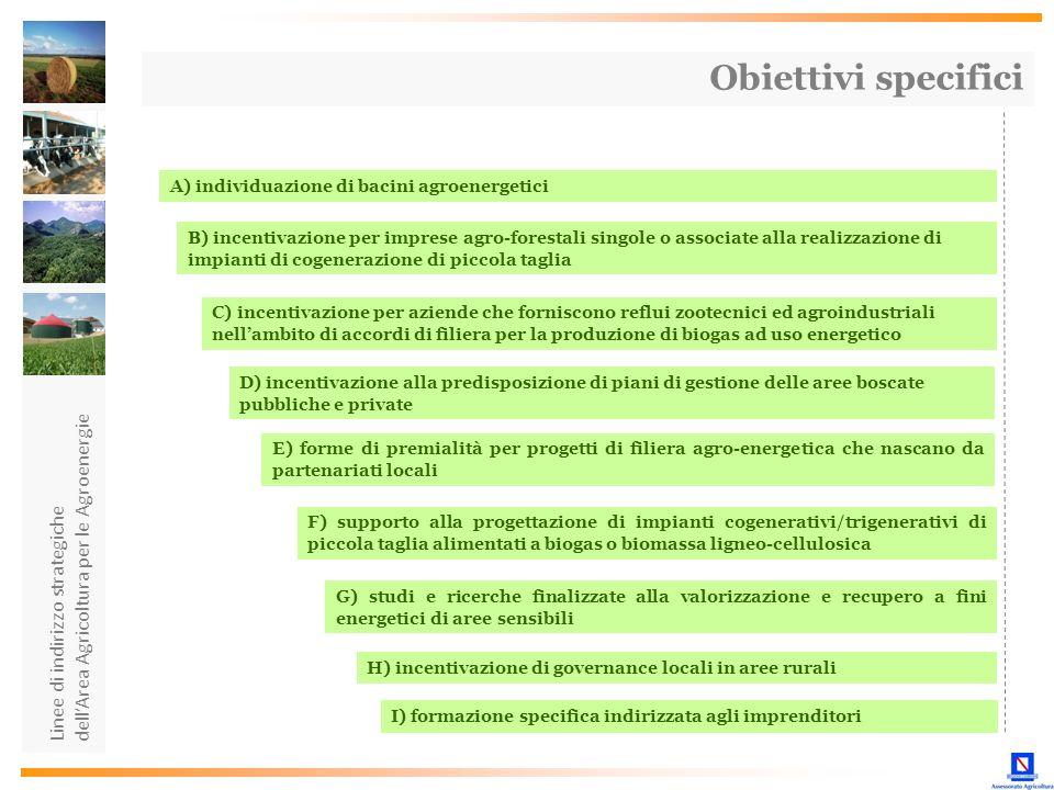 Obiettivi specifici dell'Area Agricoltura per le Agroenergie