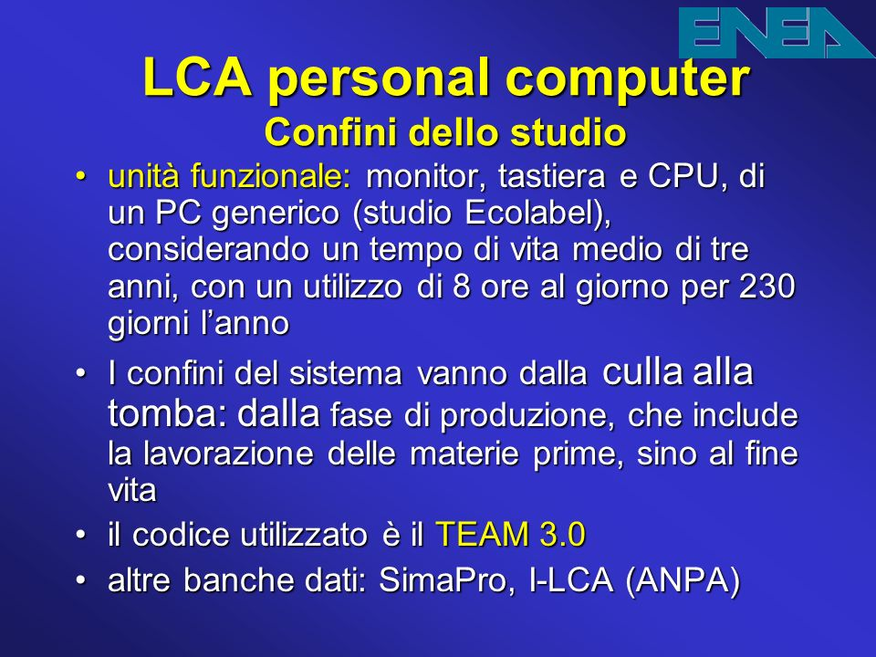 LCA personal computer Confini dello studio