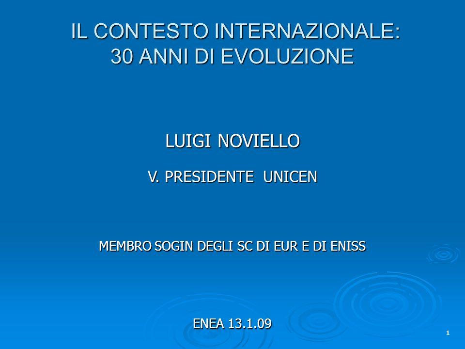 IL CONTESTO INTERNAZIONALE: 30 ANNI DI EVOLUZIONE