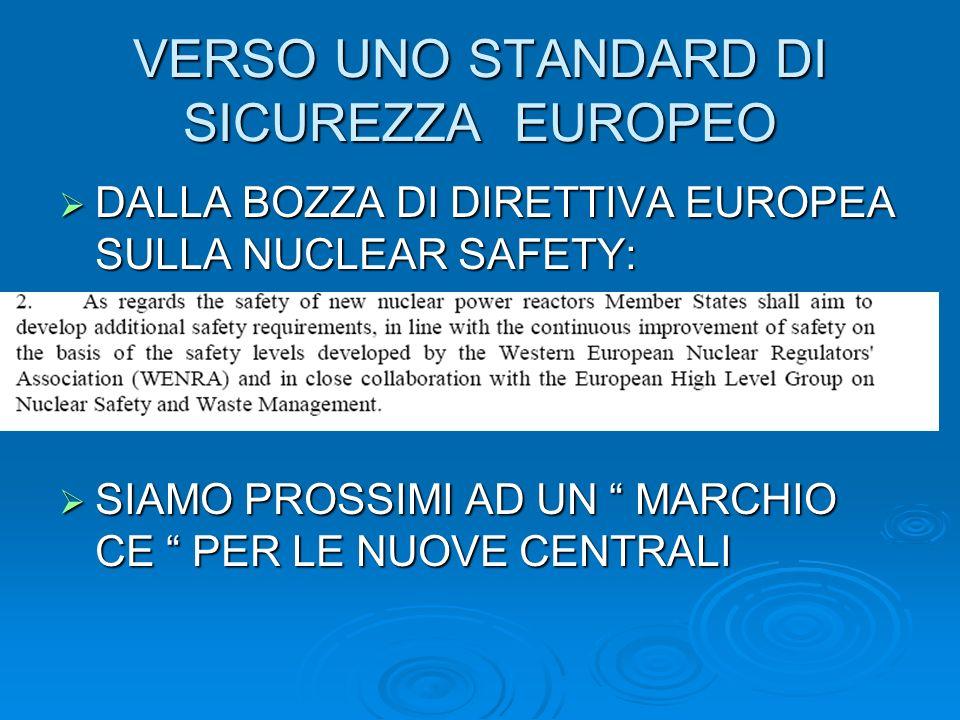 VERSO UNO STANDARD DI SICUREZZA EUROPEO