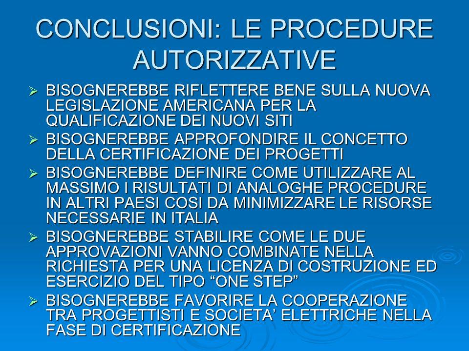 CONCLUSIONI: LE PROCEDURE AUTORIZZATIVE