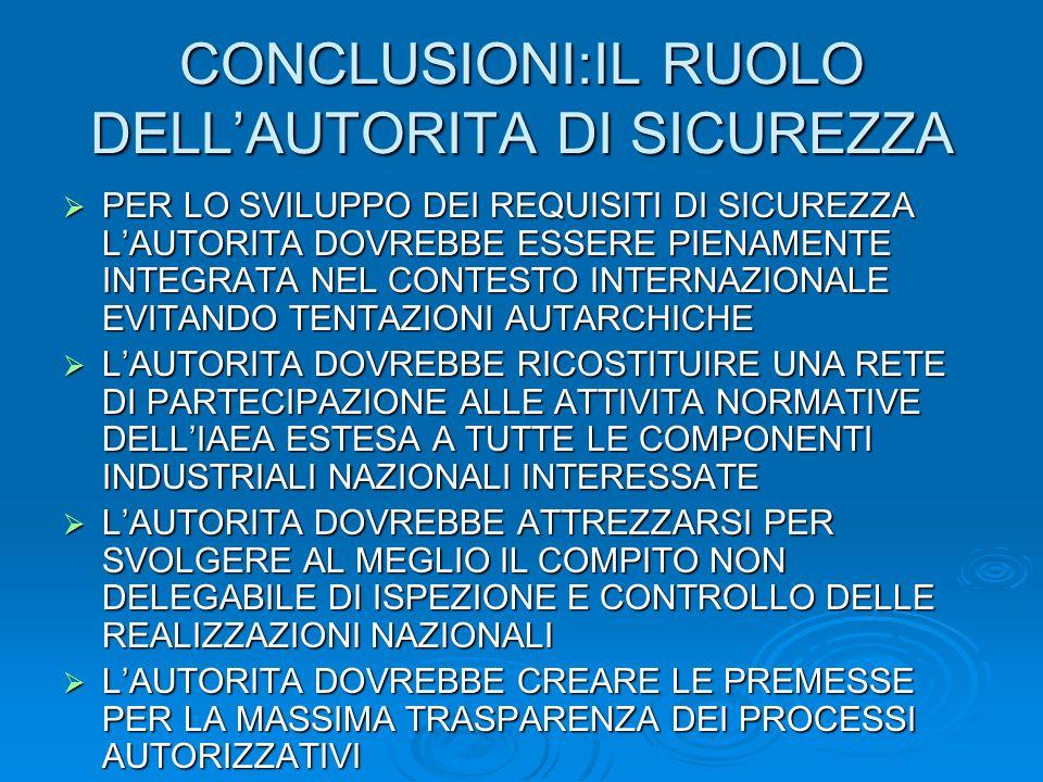 CONCLUSIONI:IL RUOLO DELL'AUTORITA DI SICUREZZA