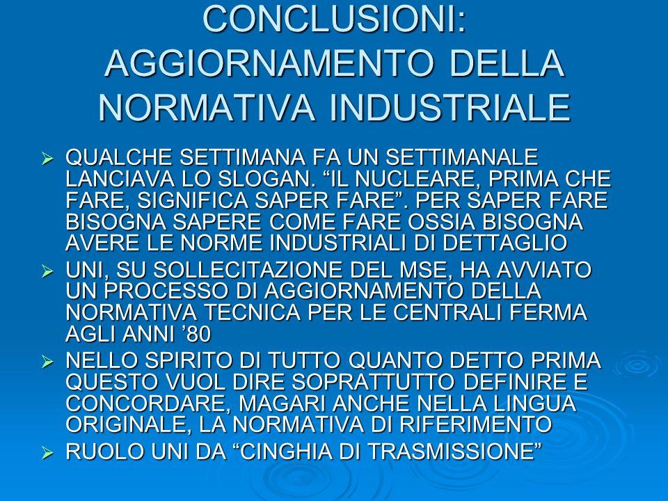 CONCLUSIONI: AGGIORNAMENTO DELLA NORMATIVA INDUSTRIALE