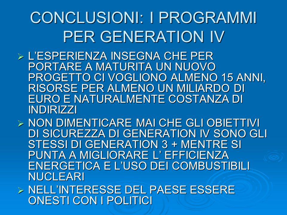 CONCLUSIONI: I PROGRAMMI PER GENERATION IV