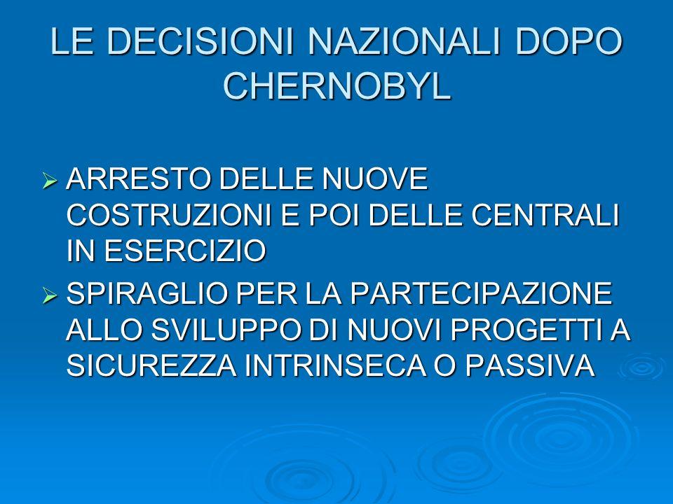 LE DECISIONI NAZIONALI DOPO CHERNOBYL