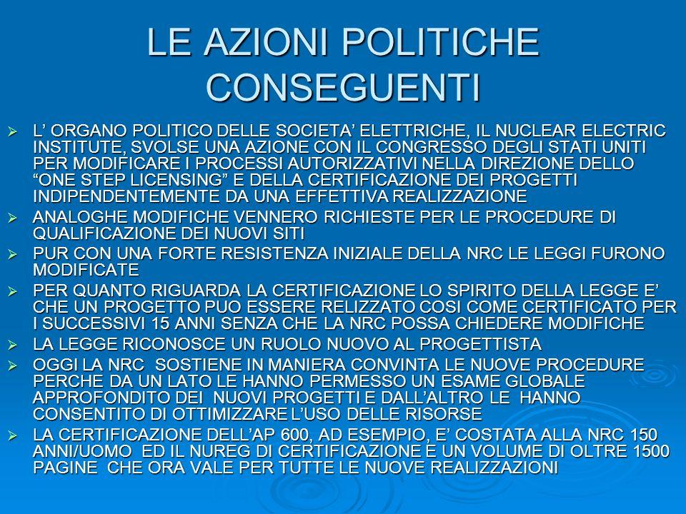 LE AZIONI POLITICHE CONSEGUENTI