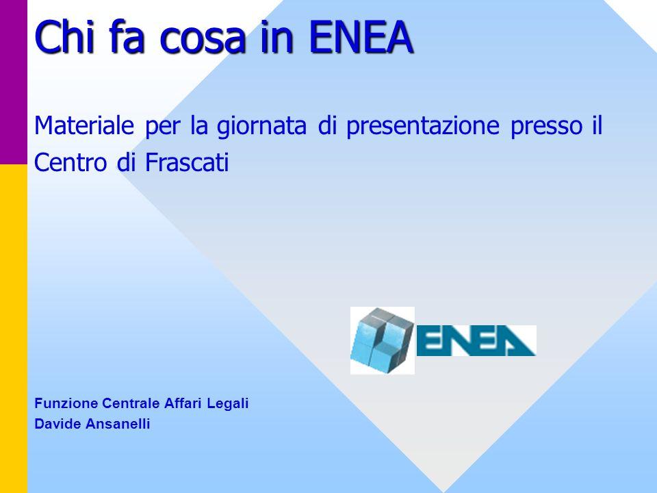 Chi fa cosa in ENEA Materiale per la giornata di presentazione presso il. Centro di Frascati. Funzione Centrale Affari Legali.