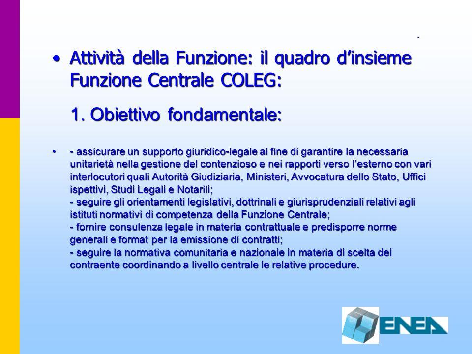 . Attività della Funzione: il quadro d'insieme Funzione Centrale COLEG: 1. Obiettivo fondamentale: