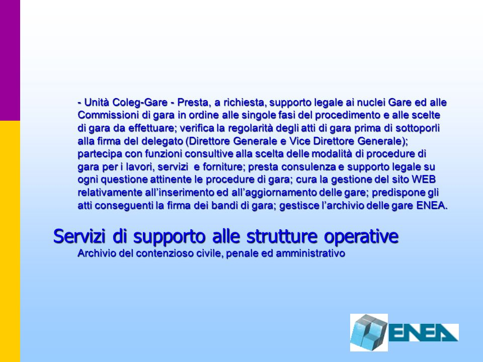 Servizi di supporto alle strutture operative