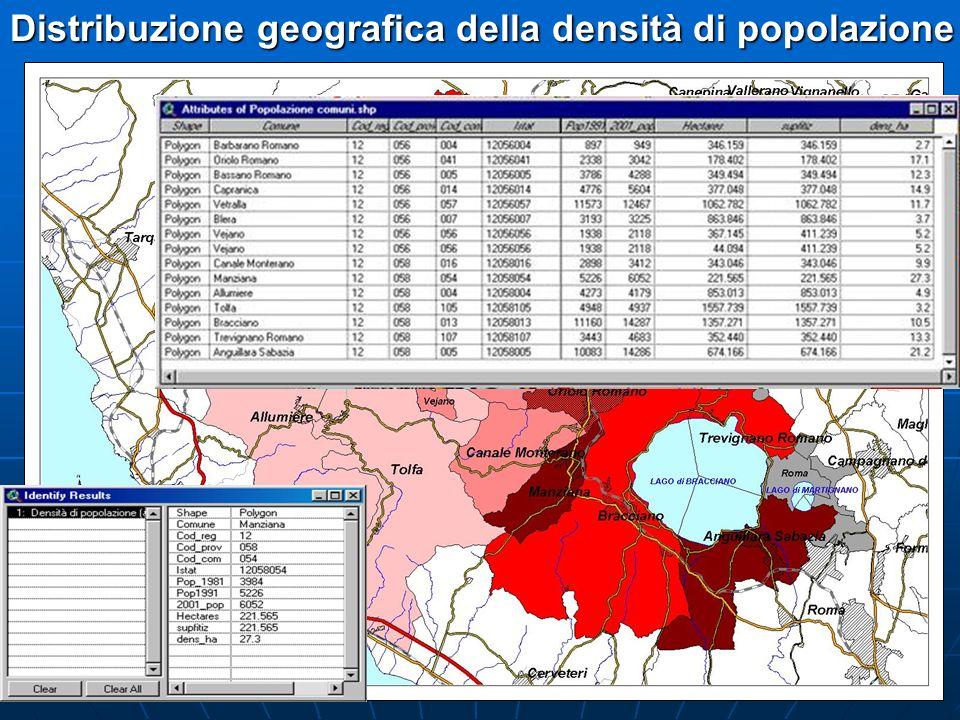 Distribuzione geografica della densità di popolazione