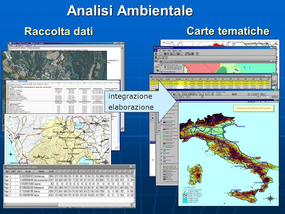 Analisi Ambientale Raccolta dati Carte tematiche integrazione
