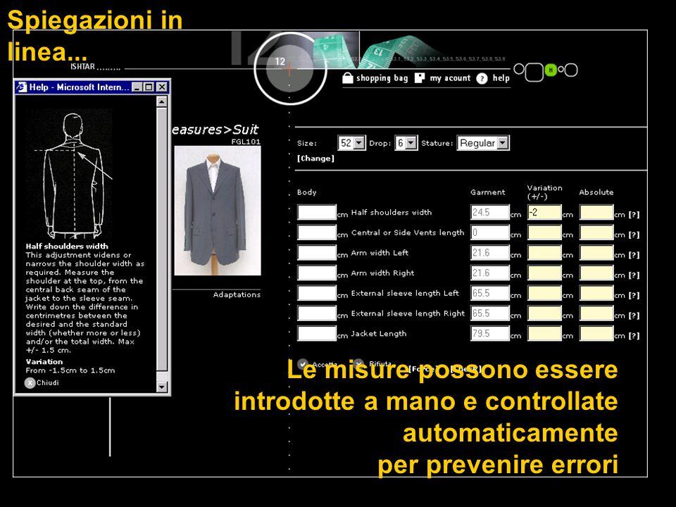 Spiegazioni in linea... Le misure possono essere introdotte a mano e controllate automaticamente.