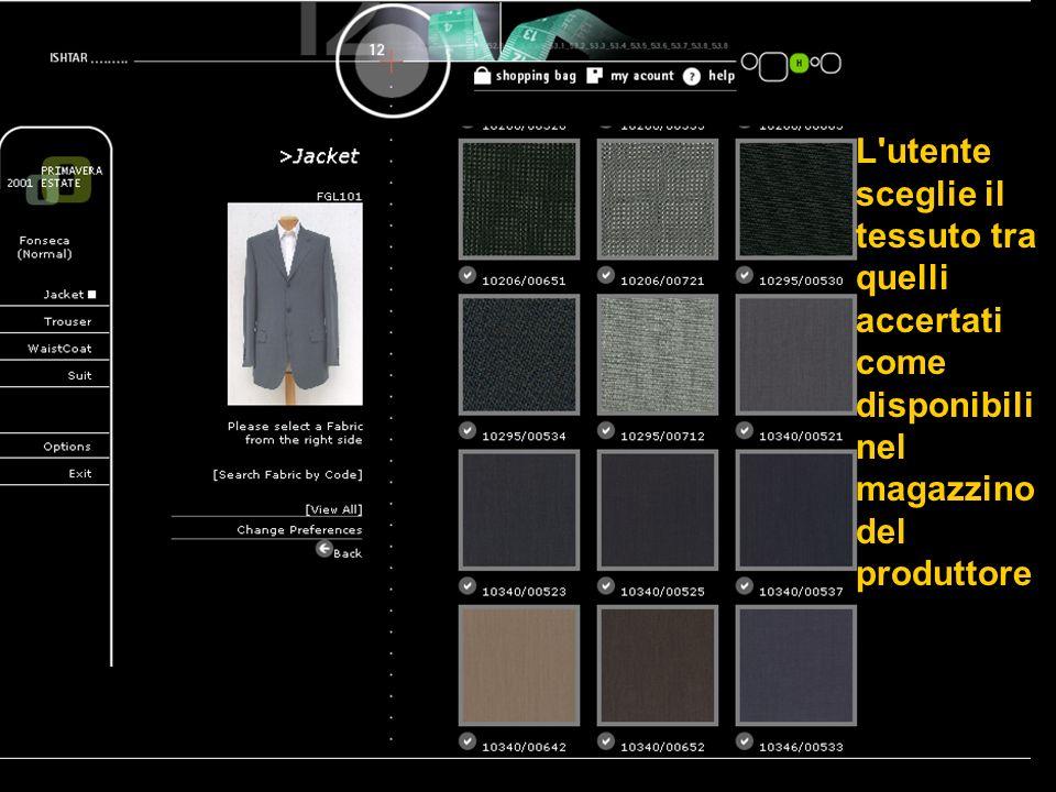 L utente sceglie il tessuto tra quelli accertati come disponibili nel magazzino del produttore