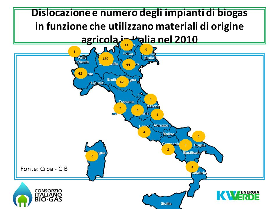 Dislocazione e numero degli impianti di biogas in funzione che utilizzano materiali di origine agricola in Italia nel 2010