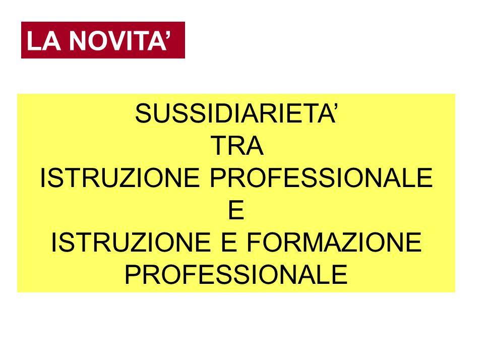 ISTRUZIONE PROFESSIONALE E ISTRUZIONE E FORMAZIONE PROFESSIONALE