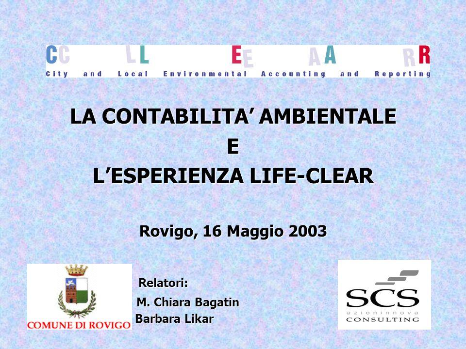 LA CONTABILITA' AMBIENTALE L'ESPERIENZA LIFE-CLEAR