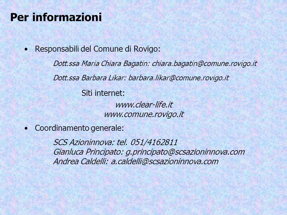 Per informazioni Responsabili del Comune di Rovigo: