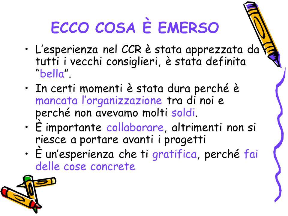 ECCO COSA È EMERSO L'esperienza nel CCR è stata apprezzata da tutti i vecchi consiglieri, è stata definita bella .