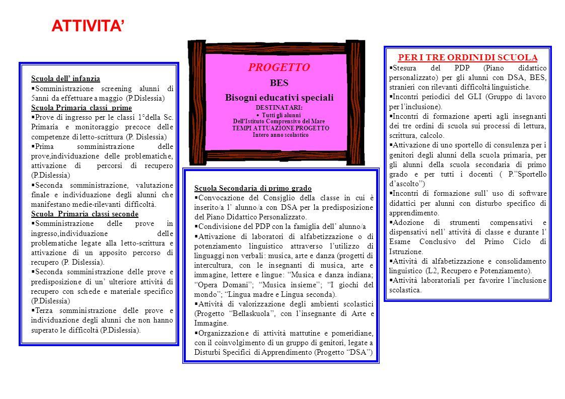 ATTIVITA' PROGETTO BES Bisogni educativi speciali