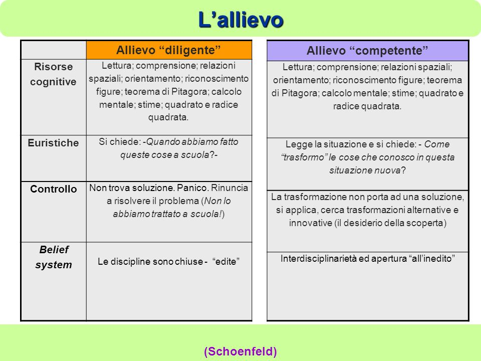 L'allievo Allievo diligente Allievo competente (Schoenfeld)