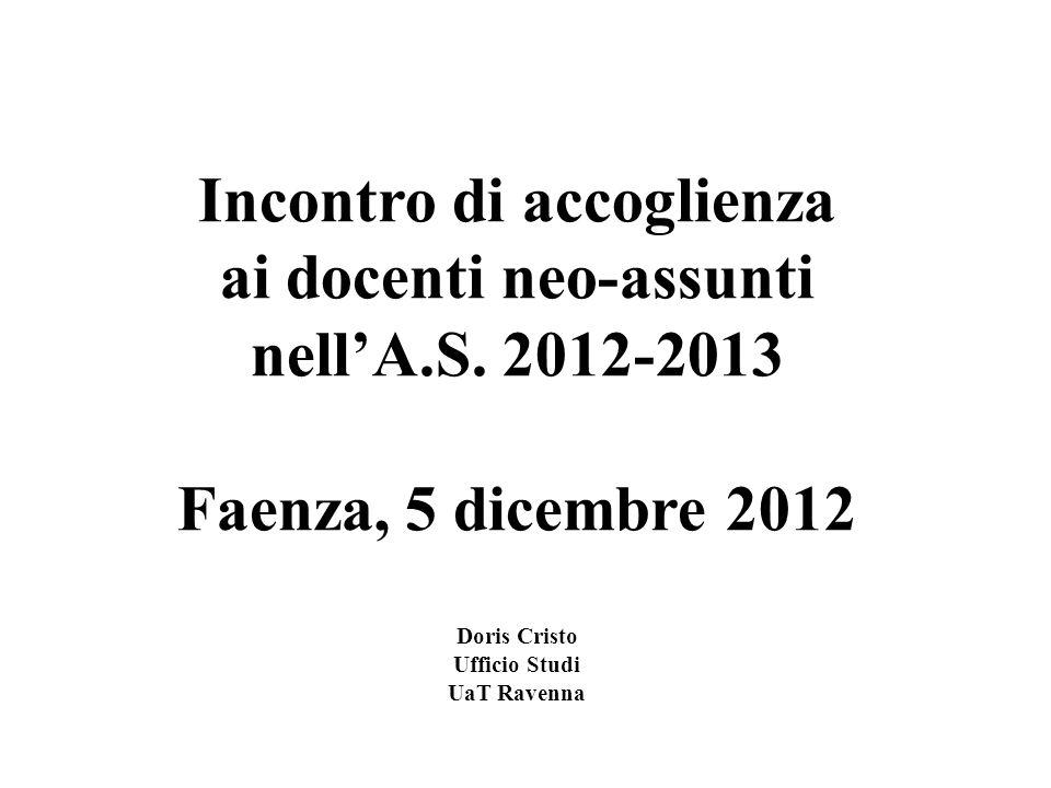 Incontro di accoglienza ai docenti neo-assunti nell'A.S. 2012-2013