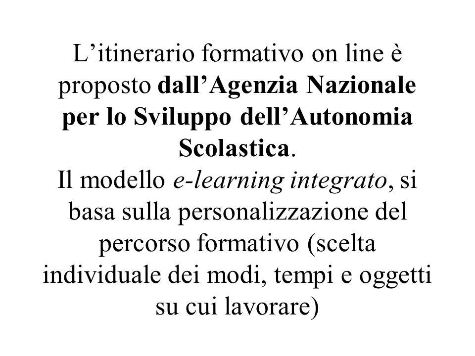 L'itinerario formativo on line è proposto dall'Agenzia Nazionale per lo Sviluppo dell'Autonomia Scolastica.