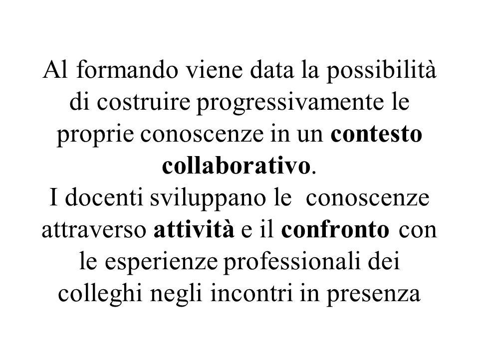 Al formando viene data la possibilità di costruire progressivamente le proprie conoscenze in un contesto collaborativo.