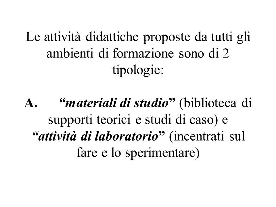 Le attività didattiche proposte da tutti gli ambienti di formazione sono di 2 tipologie: A. materiali di studio (biblioteca di supporti teorici e studi di caso) e attività di laboratorio (incentrati sul fare e lo sperimentare)
