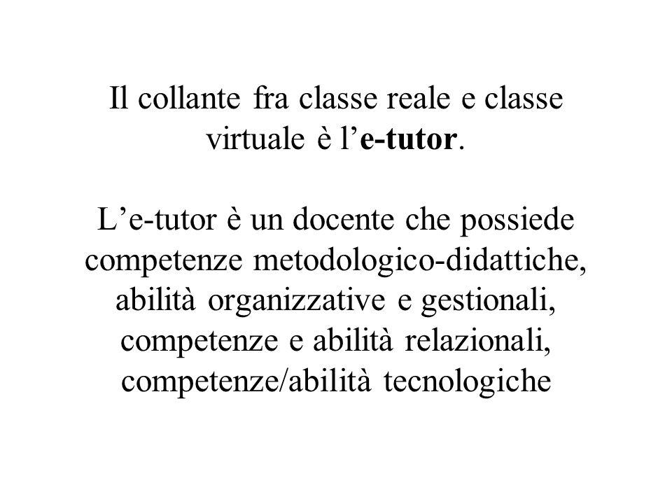 Il collante fra classe reale e classe virtuale è l'e-tutor