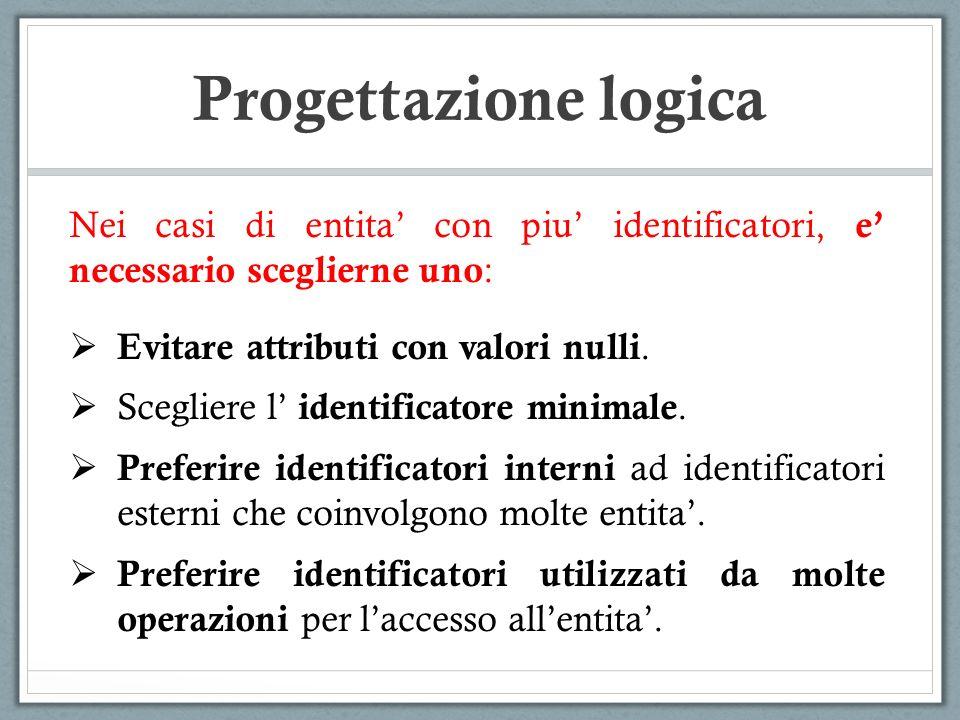 Progettazione logica Nei casi di entita' con piu' identificatori, e' necessario sceglierne uno: Evitare attributi con valori nulli.