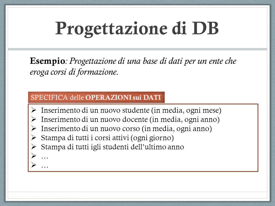 Progettazione di DB Esempio: Progettazione di una base di dati per un ente che eroga corsi di formazione.