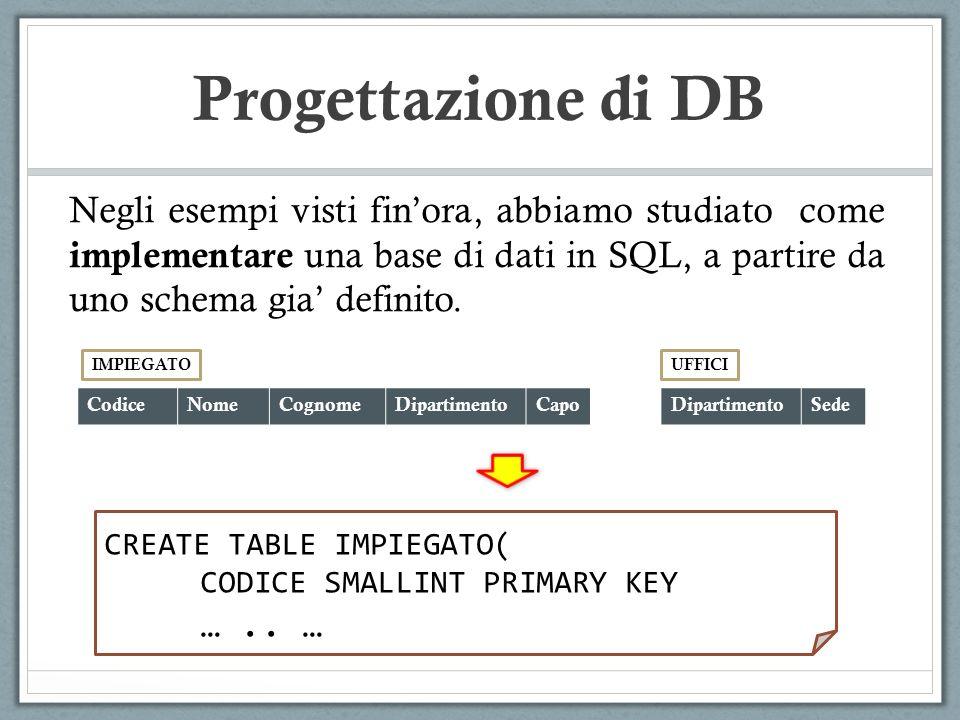Progettazione di DB Negli esempi visti fin'ora, abbiamo studiato come implementare una base di dati in SQL, a partire da uno schema gia' definito.