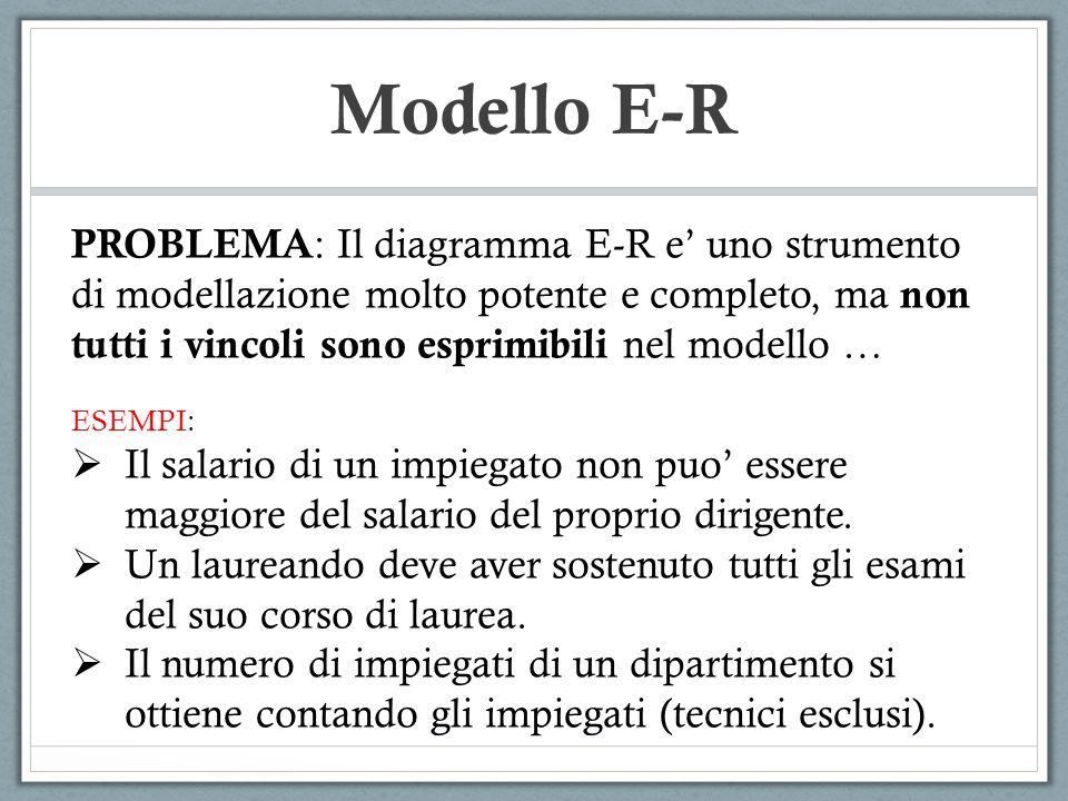Modello E-R PROBLEMA: Il diagramma E-R e' uno strumento