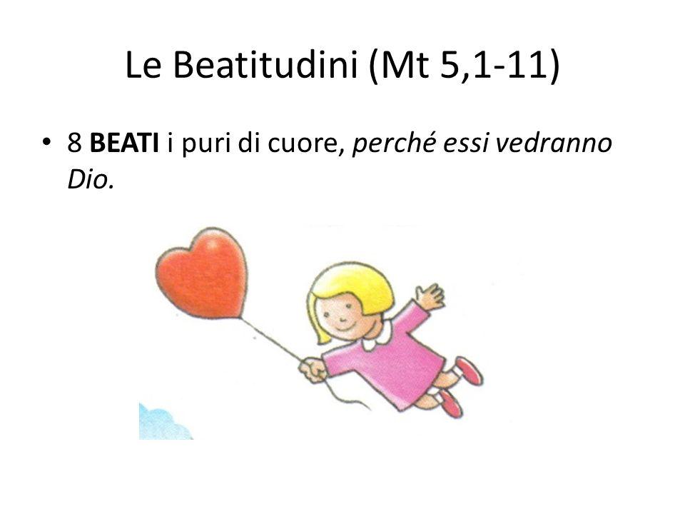Le Beatitudini (Mt 5,1-11) 8 BEATI i puri di cuore, perché essi vedranno Dio.