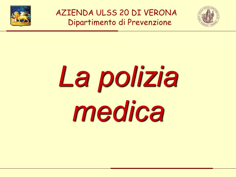 AZIENDA ULSS 20 DI VERONA Dipartimento di Prevenzione