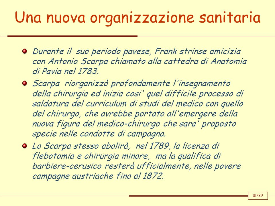 Una nuova organizzazione sanitaria