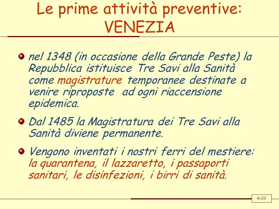 Le prime attività preventive: VENEZIA