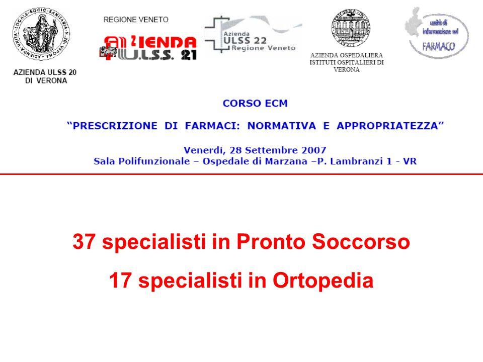 37 specialisti in Pronto Soccorso 17 specialisti in Ortopedia
