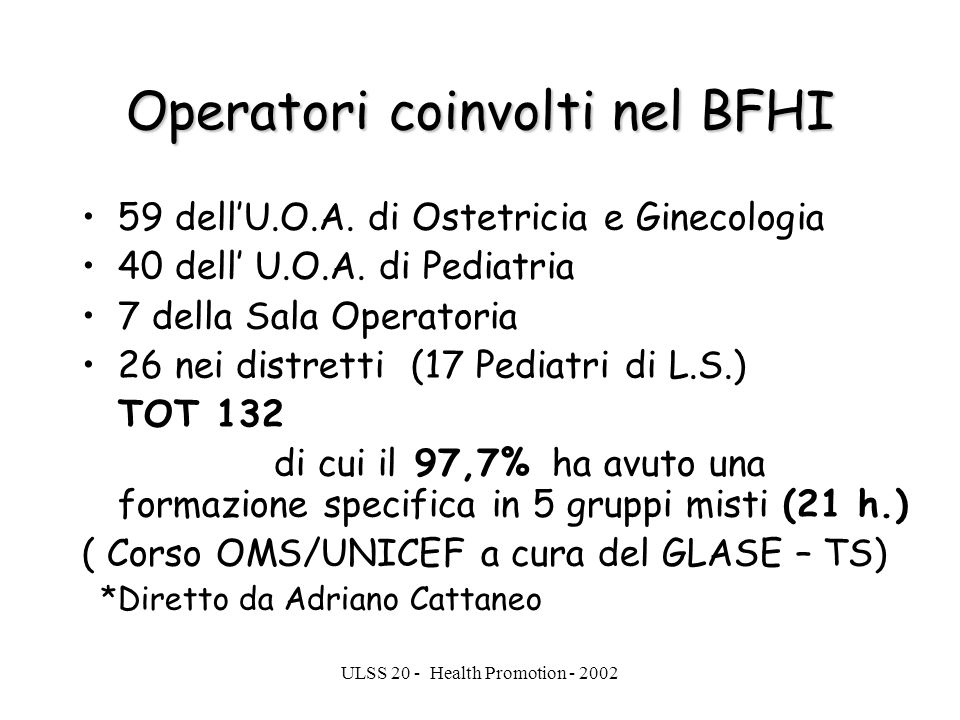 Operatori coinvolti nel BFHI