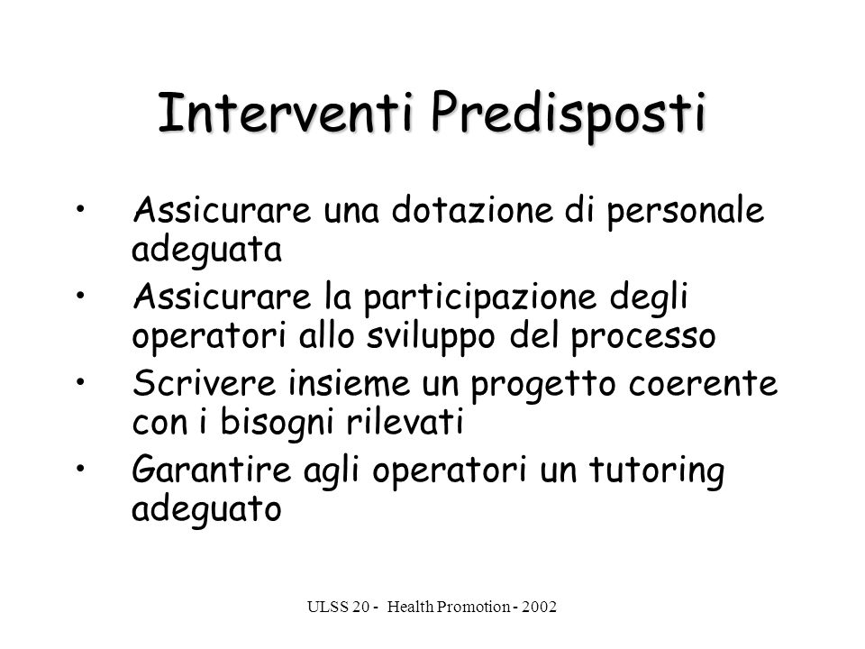 Interventi Predisposti