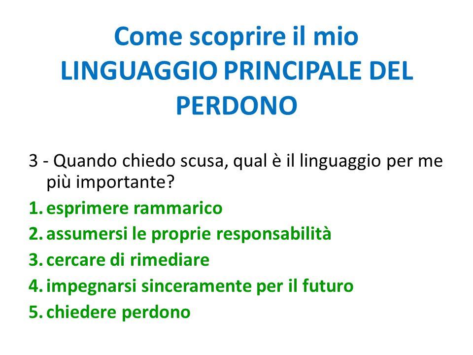 Come scoprire il mio LINGUAGGIO PRINCIPALE DEL PERDONO