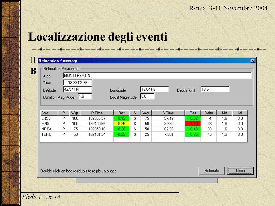 Localizzazione degli eventi