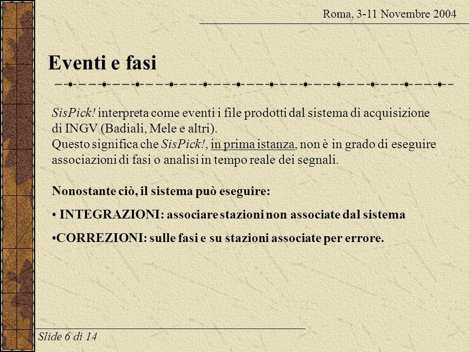Roma, 3-11 Novembre 2004 Eventi e fasi.