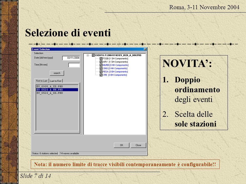 Selezione di eventi NOVITA': Doppio ordinamento degli eventi