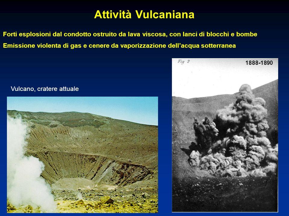 Attività Vulcaniana Forti esplosioni dal condotto ostruito da lava viscosa, con lanci di blocchi e bombe.